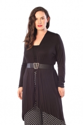 Long Length Open Front Waterfall Cardigan - Black