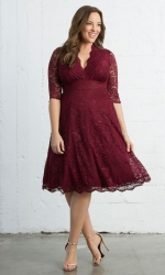 Mademoiselle Lace Dress - Pinot Noir