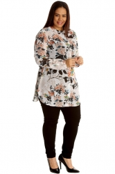 Gorgeous Floral Swan Print Band Collar Chiffon Shirt - Cream
