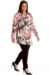 Gorgeous Tropical Print Band Collar Chiffon Shirt - Pink & Cream