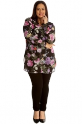Gorgeous Floral Print Band Collar Chiffon Shirt - Pink & Black