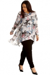 Chic Floral Butterfly Print A-Line Chiffon Shirt - White & Blue