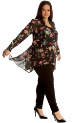 Chic Floral Print A-Line Chiffon Shirt - Black & Pink ------SOLD OUT------