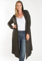 Ribbed Hooded Duster - Charcoal ------SOLD OUT------