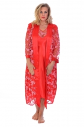 Glitter Floral Satin 2 in 1 Nightsuit - Red
