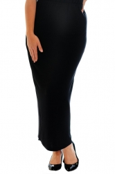 Plain Full Length Pencil Skirt - Black