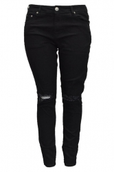 Straight Leg Ripped Jeans - Black