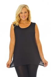 Simple Wide Strap Fitted Cami - Black
