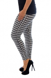 Bold Print Plus Size Leggings - Houndstooth