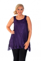 Lovely Light Floral Lace Lined SharkbiteTank - Purple