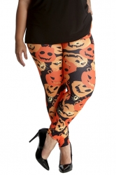 Pumpkin & Spider Print Leggings - Orange
