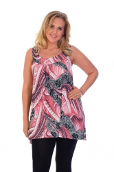 Lovely Loose Fit Sequin/Feather Tunic Top - Red