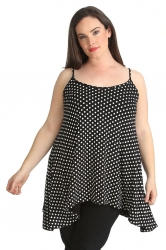 Lovely Loose Fit Polka Dot Cami - Black & White