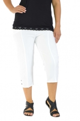 Easy Wearing Cropped Tab Detail Capri Pants - White