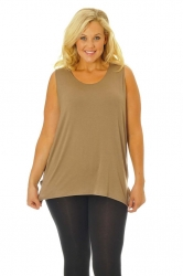 Simple Wide Strap Fitted Cami - Mocha