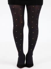 50 Denier Opaque Tights - Small Gold Studs
