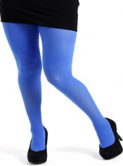 40 Denier Velvet Tights - Flo Blue