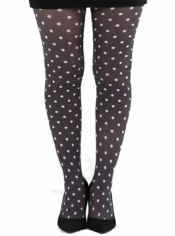 Polka Dot B Printed Tights - Black