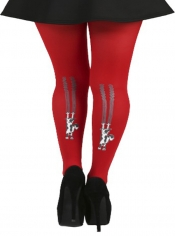 Flocked Climbing Cats Tights - Flo Red