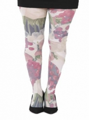 Fruit & Face Printed Tights Brown