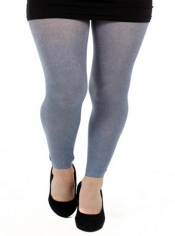 Denim Twill Printed Footless Tights Grey ------SOLD OUT------