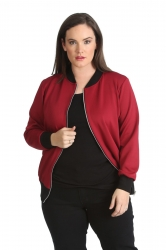 Cute Casual Plus Size Bomber Jacket - Wine