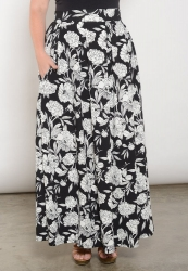 Claudia Maxi Skirt - Black and White Floral