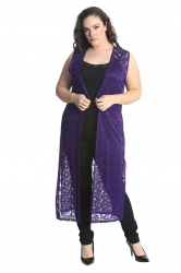 Fabulous Long Sleeveless Cardi- Purple Floral Lace
