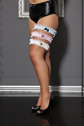 Sexy Plus Size Lace Garter – Baby Pink w/ Pink Bow & Bling