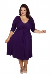 Chic Jersey Knot Front Dress - Damson ------SOLD OUT------