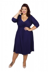 Chic Jersey Knot Front Dress - Midnight