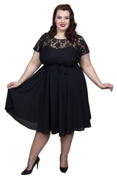Lace Top Chiffon Dress - Black