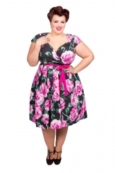 Rose Cross Over Prom Dress - Pink and Black