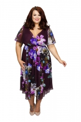 Juliette & Shanghai Hanky Hem Dress - Plum and Purple