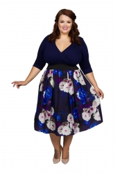 Wrap Floral 2 in 1 Dress - Blue Burgundy and White