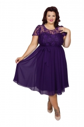 Lace Top Chiffon Dress - Damson