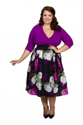 Wrap Floral 2 in 1 Dress - Magenta/White