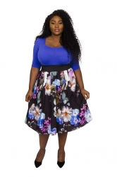 Hollywood Sweetheart 2 in 1 Contrast Dress - Blue/Floral