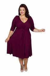 Chic Jersey Knot Front Dress - Burgundy
