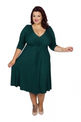 Chic Jersey Knot Front Dress - Dark Green