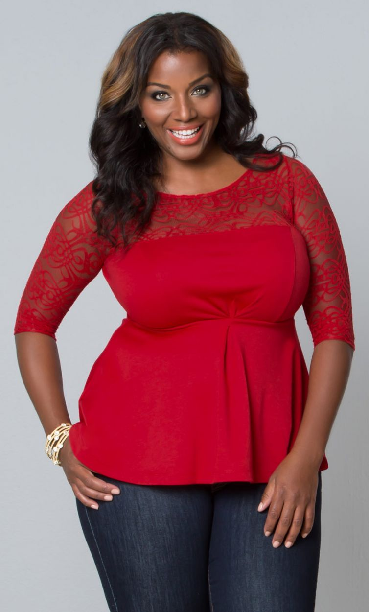 PRE ORDER: Allure Lace Peplum Top - Ruby
