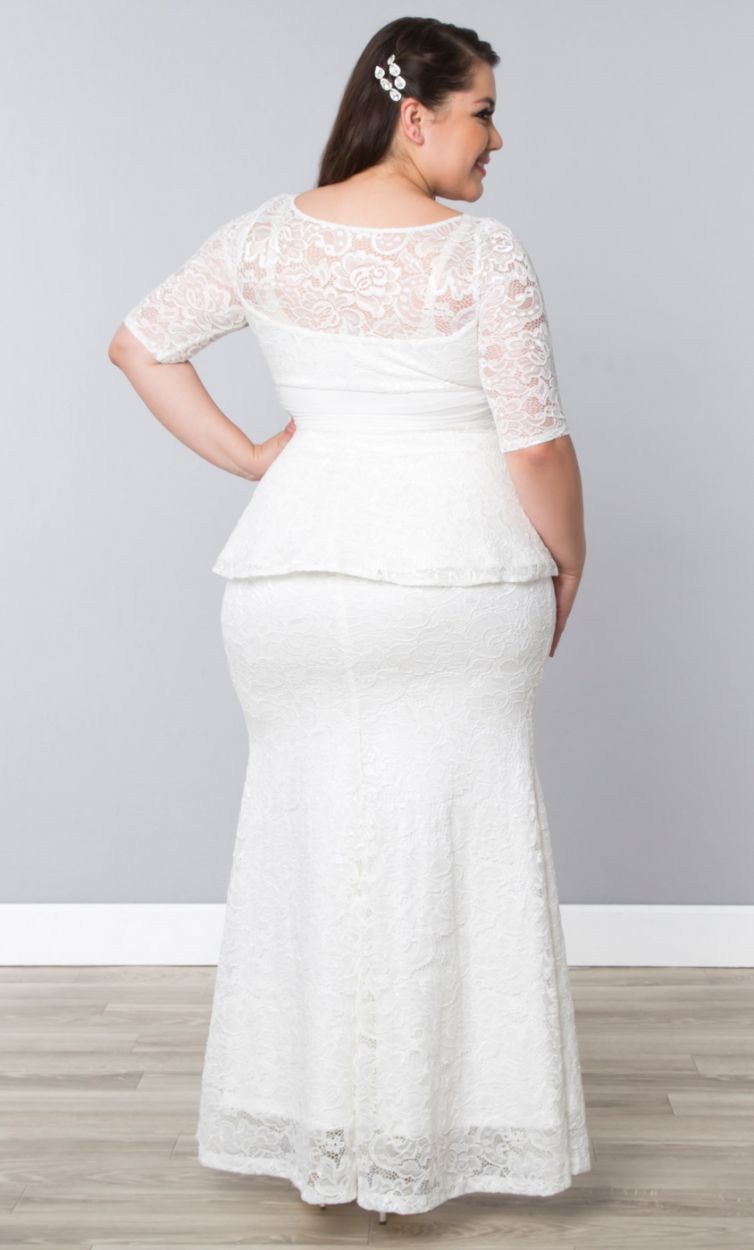 PRE ORDER: Poised Peplum Wedding Gown - Ivory | WRAP Plus Size Clothing