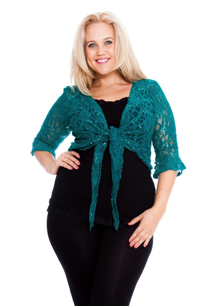 22d809dbe1af0 ... PRE ORDER  Fabulous Flounce Lace Sequin Tie-up Shrug - Jade 3 (click to