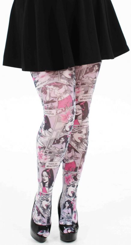 248b3b85f7822 ... PRE ORDER: Funky Plus Size Comic Book Tights - Pink & White_3 (click to