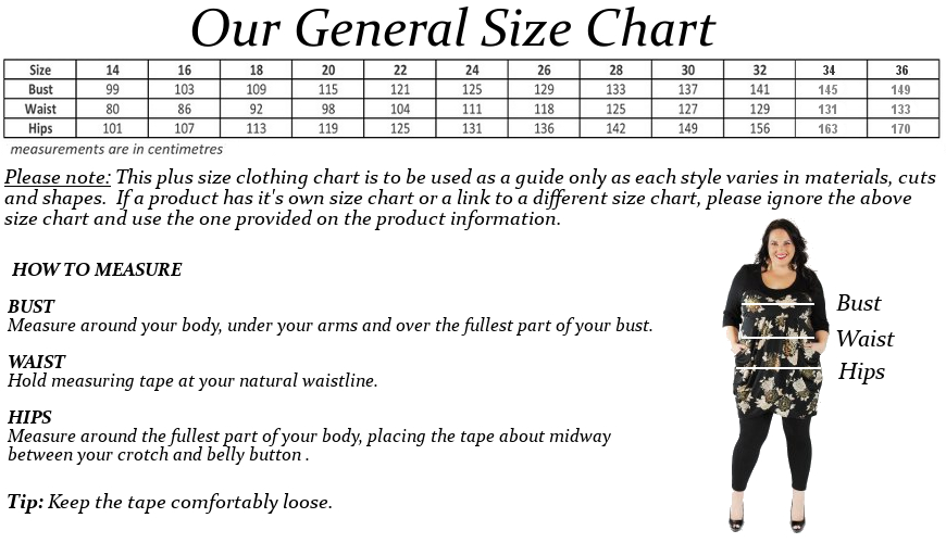 Size Chart Wrap Plus Size Clothing