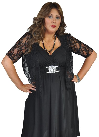 72518a91ee22c ... Lovely Lace Stretch Tie Up Shrug - Black 3 (click to Enlarge) ...